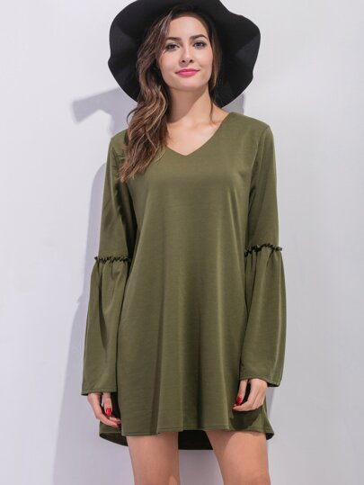 Army Green V Neck Bell Sleeve Tunic Dress