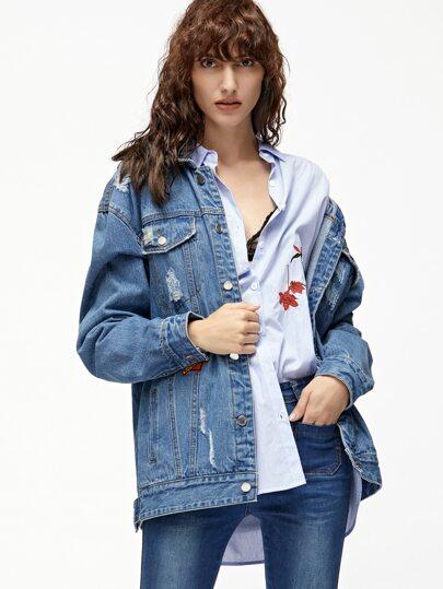 Blue Distressed Boyfriend Denim Jacket With Patch Detail