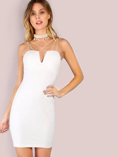 Strappy Cord Bodycon Mini Dress OFF WHITE