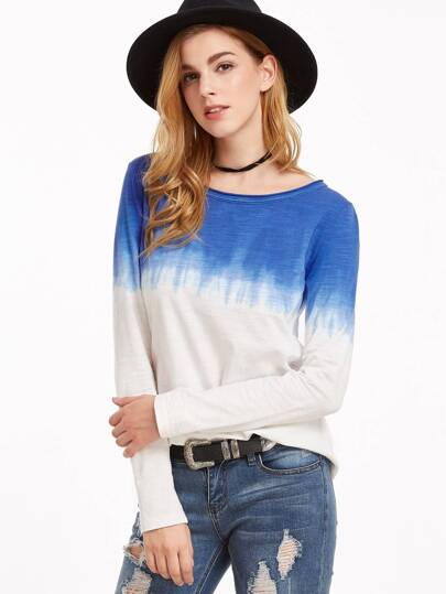 Blue Ombre Long Sleeve Slub T-shirt