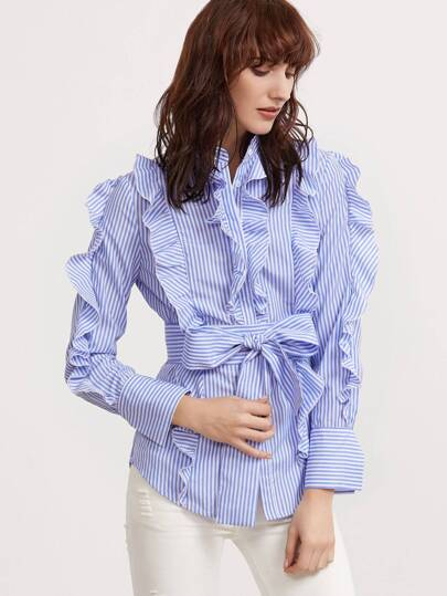 Blue And White Striped Belted Ruffle Blouse