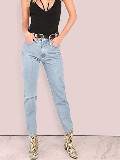 Lightly Distressed Light Washed Mom Jeans DENIM