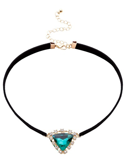 Green Triangle Crystal Pendant Choker Necklace