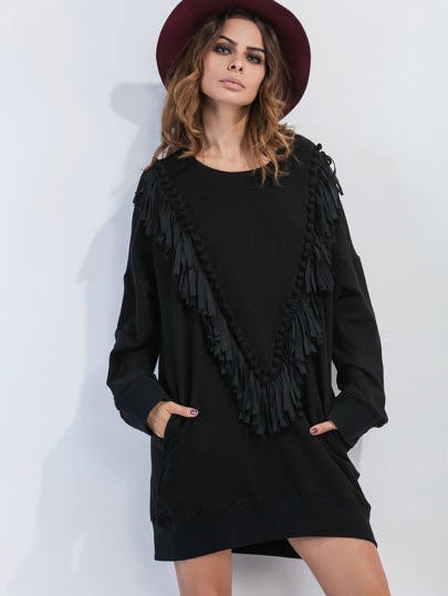 Black Drop Shoulder Fringe Pom Pom Trim Sweatshirt Dress