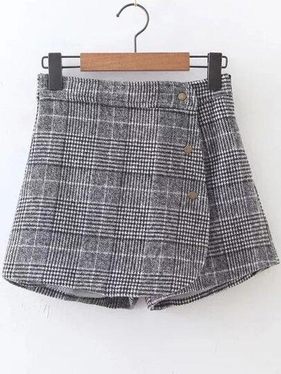 Plaid Button Up Side Zipper Shorts