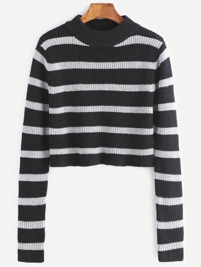 Pull courte à rayures -blanc et noir
