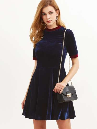 Navy Contrast Trim Velvet Skater Dress