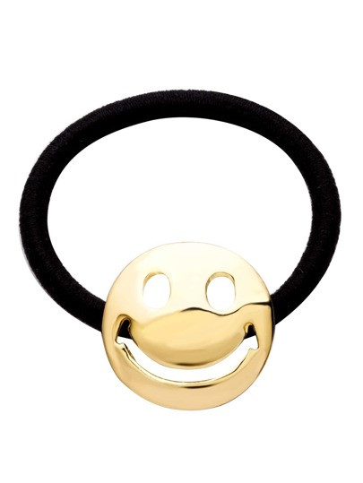 Gold Plated Smiley Face Hollow Out Hair Tie