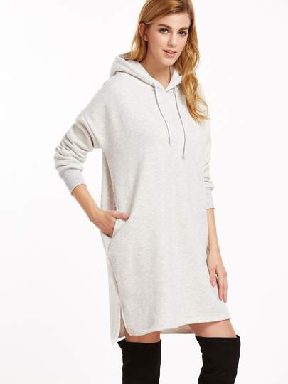 Pale Grey Hooded Slit Side High Low Sweatshirt Dress