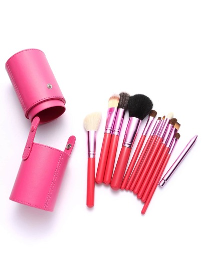 Watermelon Red Makeup Brush Set With Brush Barrel 12Pcs
