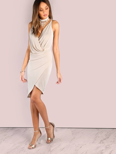 Low Back Double T Wrap Over Dress NUDE