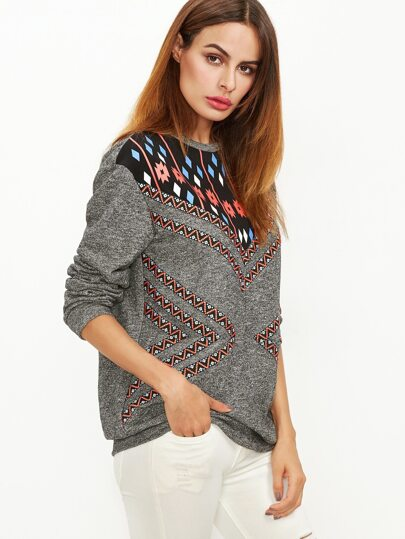 Sweatshirt mit Stickereien Tape Detail Tribal Druck -grau
