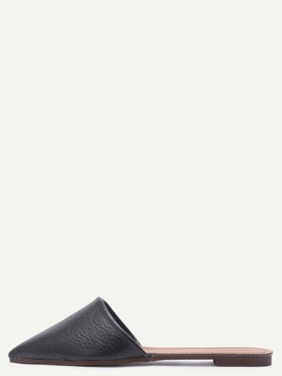Black Faux Leather Point Toe Flat Slippers