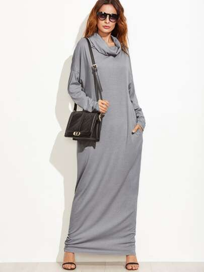 Grey Cowl Neck Drop Shoulder Maxi Dress With Pockets