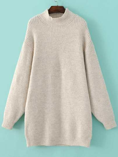 Beige Mock Neck Drop Shoulder Sweater Dress