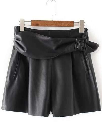 kurze Hosen mit Gürtel Reißverschluss-schwarz