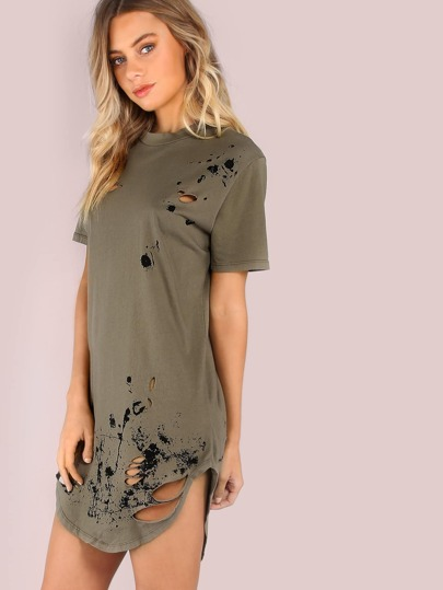 Distressed Grungy Splatter Curved Tee Dress