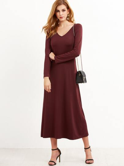 Burgundy V Neck Swing Dress