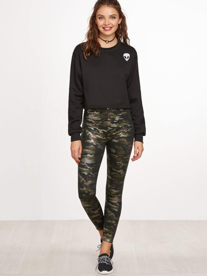 Camo Print PU Leather Leggings