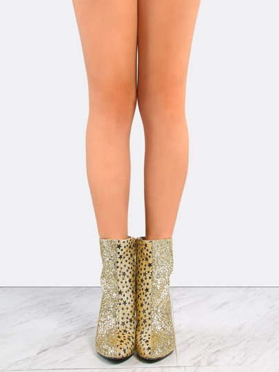 Pointy Toe Glitter Ankle Booties GOLD