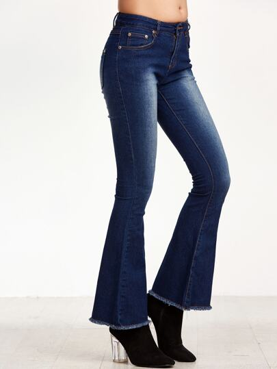 Dark Blue Bleach Raw Hem Flare Jeans