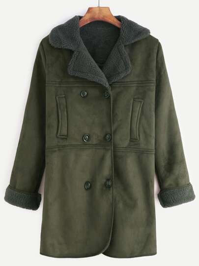 Army Green Double Breasted Sherpa Lined Suede Coat