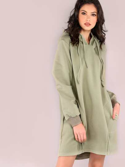 Green Sweatshirt Dress With Double Layer Hood