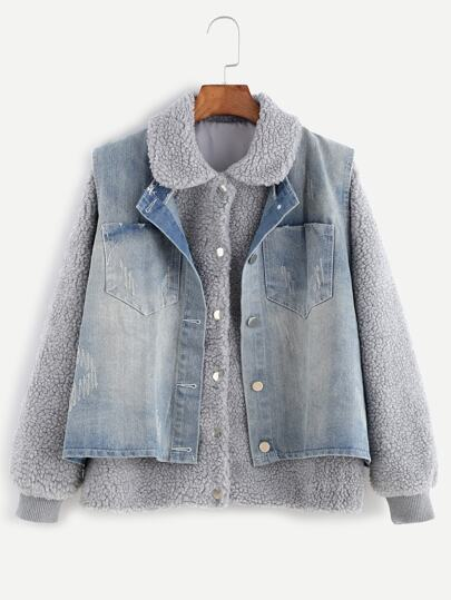 Light Grey Faux Shearling Top With Denim Vest