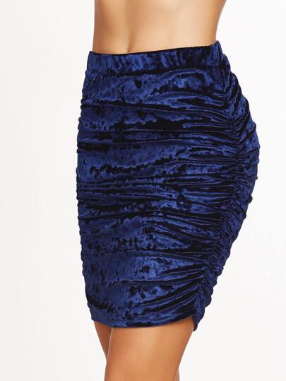Navy Ruched Velvet Bodycon Skirt