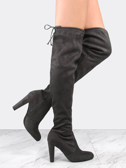 Tie Back Suede Chunky Heel Boots CHARCOAL