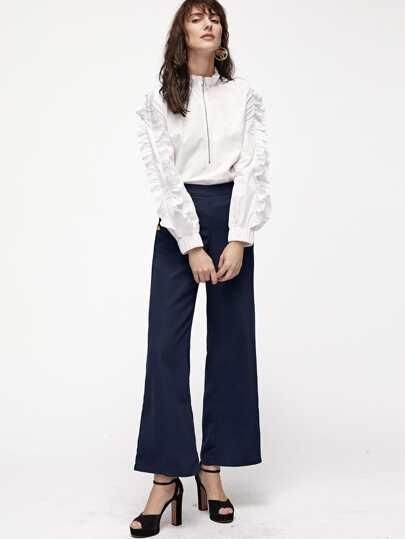 White Ruffle Collar And Sleeve Half Zip Blouse