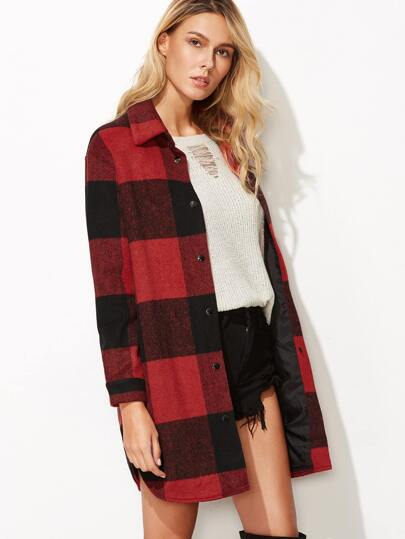Black And Red Checkered Button Up Curved Hem Coat