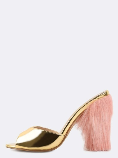 Metallic Faux Fur Chunky Heels GOLD
