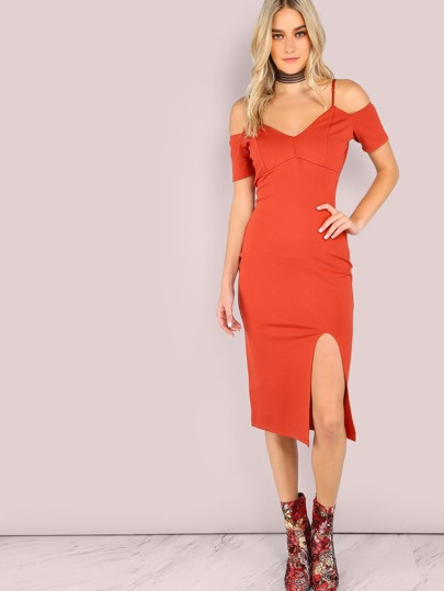 Bardot Cold Shoulder Bodycon Open Slit Dress ORANGE
