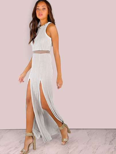 Finely Pleated Slit Dress SILVER
