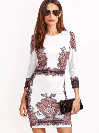 White Vintage Print 3/4 Sleeve Bodycon Dress