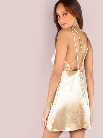 Sweet Satin Cami Halter Tie Dress CHAMPAGNE