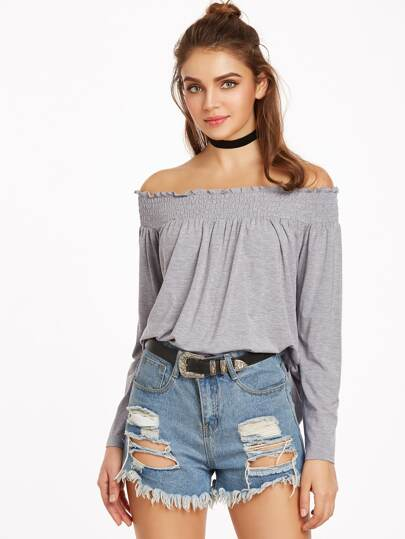 Heather Grey Smocked Off The Shoulder T-shirt