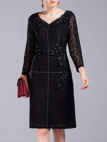 Black V Neck Flowers Applique Lace Dress