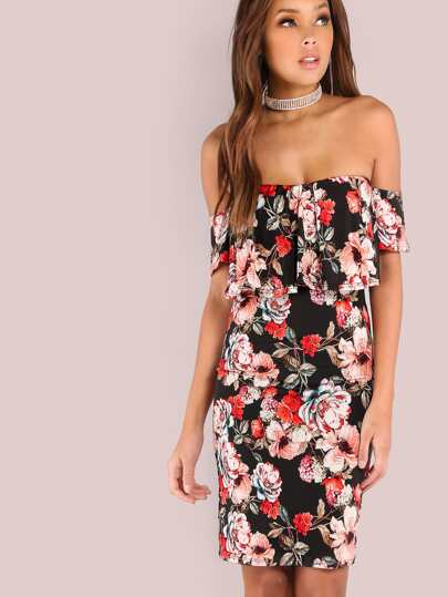 Floral Off Shoulder Frill Dress BLACK