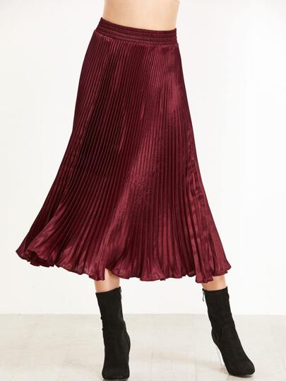 Burgundy Elastic Waist Pleated Skirt