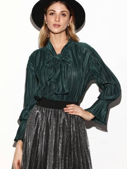 Dark Green Bow Tie Neck Pleated Blouse