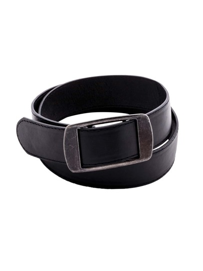 Black Faux Leather Metal Buckle Belt