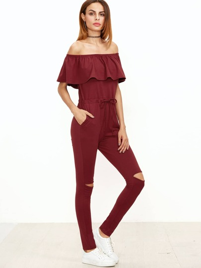 Burgundy Ruffle Off The Shoulder Knee Ripped Sweat Jumpsuit