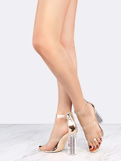 Metallic Glitter Perspex Heels ROSE GOLD