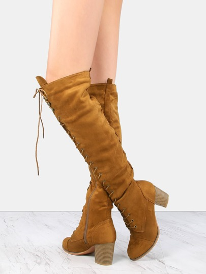 Faux Suede Stacked Heel Boots TAN