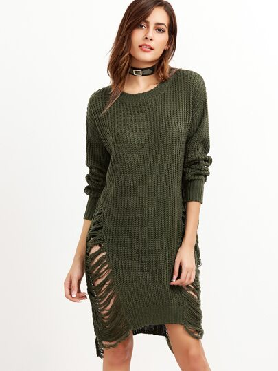 Army Green Drop Shoulder Frayed High Low Sweater
