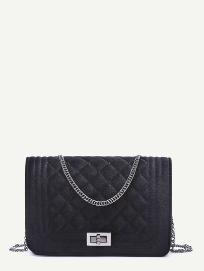 Black Velvet Quilted Mini Flap Chain Bag