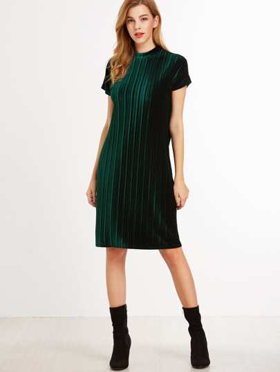 Dark Green Mock Neck Zip Up Striped Velvet Dress