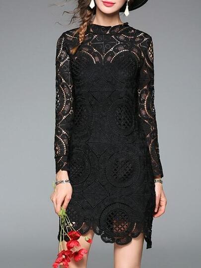 Vestido hueco de croché - negro